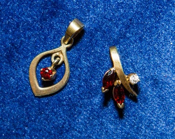 Two Antique Small Bohemian Garnet Necklace Pendants Gold Over 835 Silver Victorian Style Heirloom