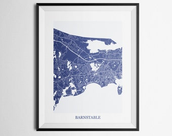 Barnstable, Cape Cod, Massachusetts Abstract Street Map Print