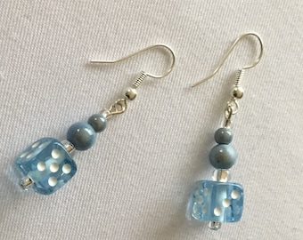 Pale blue dice earrings