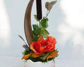 Autumn with poppy flower  - floral arrangement with artificial flowers