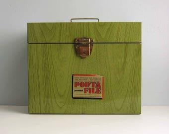 Vintage Ballonoff Porta File  Green Wood Grain Metal File Box with Key! - Portable Faux Bois Metal File Folder Storage Container