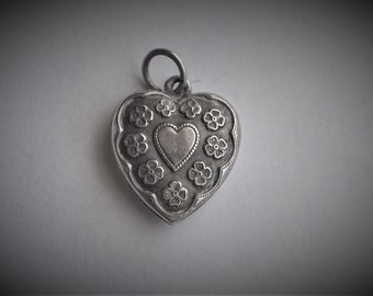 Puffy Heart Charm Sterling Silver Jackie Double Heart Vintage Pendant Large