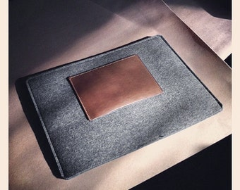 MacBook Air 13 inch Alpha - Wool Felt and Leather Handcrafted Case