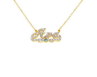 NP13d-10K Gold Diamond Script Name Necklace with Heart