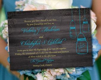 Rustic Wedding Invitation Template - Mason Jar Invitation Malibu Sunbeam Instant Download DIY Wedding Template Printable Wedding Invitation