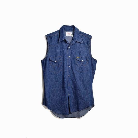 Vintage 70s Wrangler Denim Shirt  / Men's Blue Jean Shirt / Sleeveless Shirt / Western Pearl Snap Shirt - men's medium, extra long