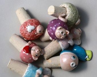 Three Ceramic funny cork - handmade cute ceramic cork- MADE TO ORDER