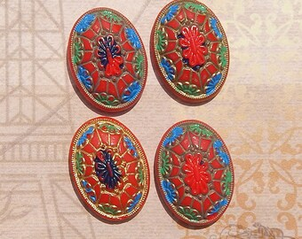 Vintage Glass Cabochons - 25x18 Red Geometric Deco Design Cabs - Shabby Chic (4 pc)