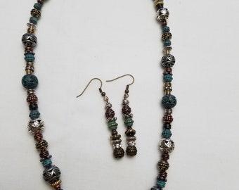 Aztec inspired metal bead necklace/earrings