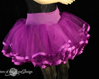 Purple tutu petticoat skirt adult trimmed Halloween costume extra poofy dance petticoat bridal - You Choose Size - Sisters of the Moon