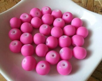 Lot 30 beads in glass covered rubber Pink 8mm
