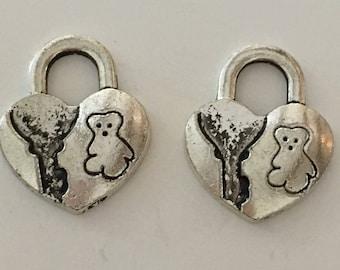 2 pendants 29 x 16 mm silver heart padlock