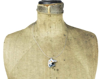 Silver Horse Necklace, Silver Horse Pendant Necklace, Silver Wire Necklace, Wood Inlay Necklace, Silver Horse Choker Necklace