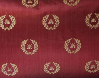 DESIGNER NEOCLASSICAL BEE Strie Silk Damask Fabric 5 Yards Crimson Gold Opal