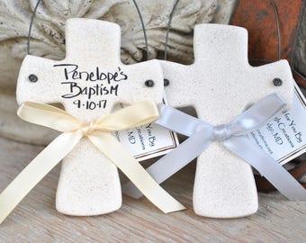 Personalized Baptism Favors Baby Gift Salt Dough Cross Ornament Christening Gift Baptism Gift Boy Baptism Gift Girl Silver / Gold Ribbon