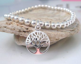 Silver Tree of Life Stretch Bracelet, Sterling Silver Beaded Bracelet, Family Tree Bracelet, Tree jewellery, gift for her, gift for women