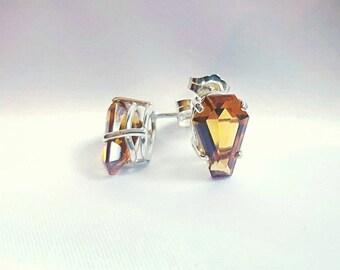 Coffin Gem - 3ct pair - DANGLE or POST coffin EARRINGS