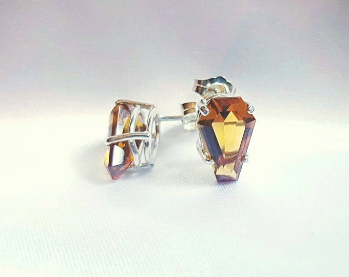 Coffin Gem - 3ct pair - DANGLE or POST coffin EARRINGS