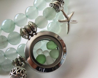 Sale 20% Rabais Sea glass bracelet, aventurine bracelet, beads bracelet, 4-row bracelet, ocean bracelet, nautical bracelet, bleu bracelet, a
