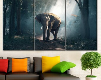 Elephant wall canvas, Brown elephant print, Elephant panel art, Elephant adult canvas, Elephant paint set, Elephant wild life, Elephant art