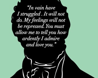 Literary Art Print - Jane Austen - Mr Darcy Proposal - Pride and Prejudice - Bookish - JAPP013
