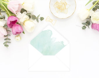 Printable Envelope Liner  | Botanical Envelope Liner | Envelope Liner Template - Mint Watercolor