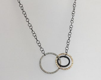 oxidized sterling silver and gold filled three circle necklace