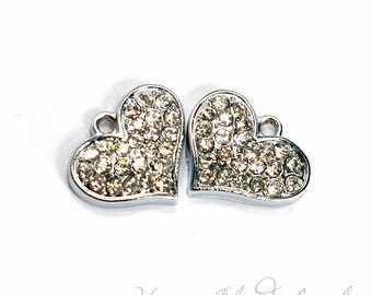Sparkly and Stylized Heart Rhinestone Charm... 2pcs
