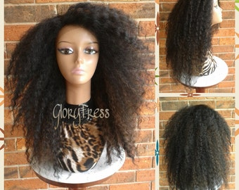 ON SALE// Big Kinky Curly Lace Front Wig, Curly Afro Wig, African American Wig // NATURAL ( Free Shipping )