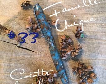 Pen in acrylic with cedar cones