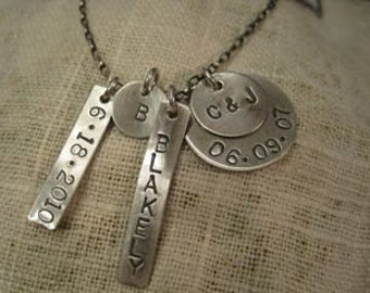 sterling silver stamped family necklace