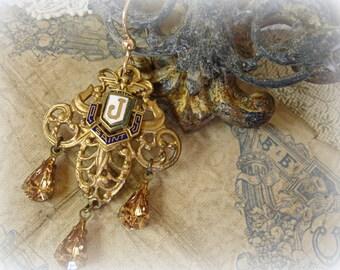 J one of a kind vintage assemblage SINGLE earring 1930s gold fleur de lis surmounted with a tiny enamel affiliation pin czech smoky topaz
