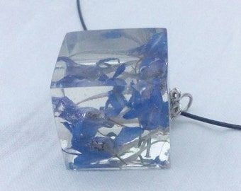 Necklace-Real Dried Flowers In Glossy Ice Resin