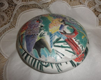 Jewelry Box for Trinkets with Parrots and Garden Embossed