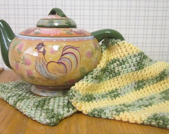 Crochet Potholder Butter Yellow Frosty Green - Set of 2 Potholders/Trivet