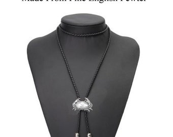 Pewter Crab Necklace Western Cowboy Necktie Bolo Tie line dancing PPSS02 jewellery