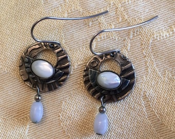 Silver Tone Drop Earrings With Mother of Pearl Stones, Embossed Silver and Blue Metal with White Stones, Pierced Earrings with Wires