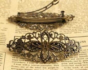 2 Pcs High quality Antique bronze filigree  hair clip   - Hair Barrettes-(HPC-123423)