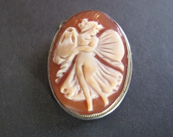 Vintage Small Shell Cameo of Psyche Set in 800 Silver Pendant Brooch Pin