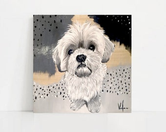 Hand Painted Custom Pet Portrait, Acrylic on Wood