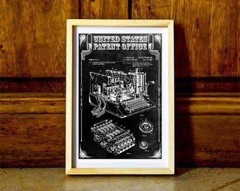 Enigma Machine Patent – Patent Print, Wall Decor, Spycraft, WWII, Spies, Secret Messages, Cipher Machine,