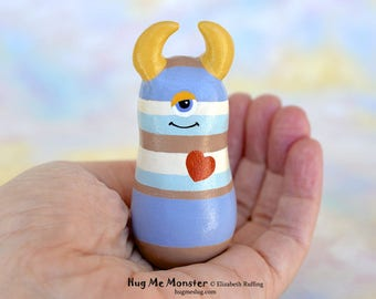 Handmade Monster Figurine, Blue Striped, Gold, Miniature Sculpture, Hug Me Monster, Good Luck Charm Figure, Personalized Tag