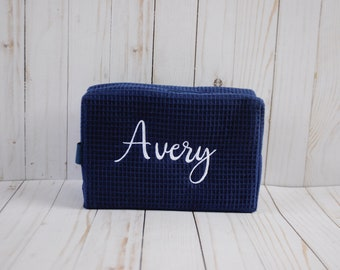 Navy Monogrammed Makeup/Travel Bag - Personalized Gifts - Waffle Weave