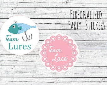 Lures Or Lace Gender Reveal Party Stickers Team Boy, Team Girl, Baby Shower Voting, Favor Tags, Labels, You Choose Size