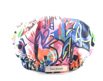 Multicolor Graffiti Graphic Print Luxury Satin Lined Sleep Bonnet