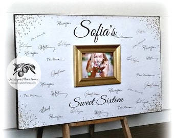 Sweet 16 Guest Book, White and Gold Glitter, Gold Sparkles, Sweet 16 Party Decorations, Quinceanera, 20x30
