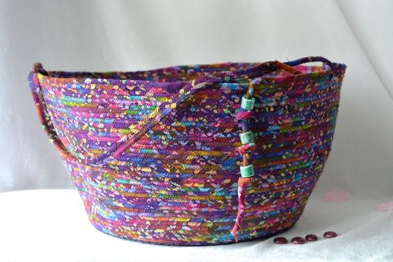 Handmade Purple Basket, Gorgeous Batik Container, Magazine Rack, Gift Basket, Towel Holder, Beautiful Knitting Basket