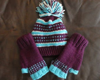 Hand Knit Hat with Matching Fingerless Gloves