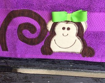 Monkey Towel/monkey applique/monkey bath towel