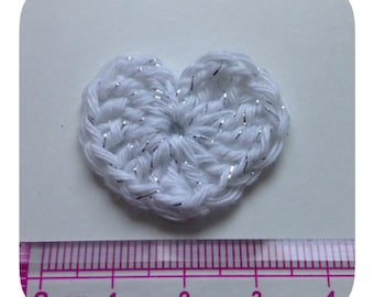 Set of 5 hearts white and silver crochet